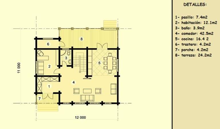 plano casa de madera barcelona