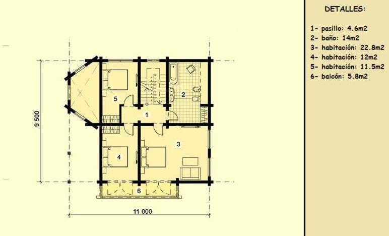 Casas de madera Burgos de 124 m2 + 22 m2 de terraza