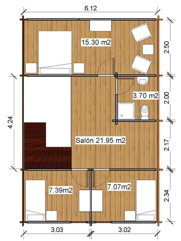 Casas de madera de 100 m2