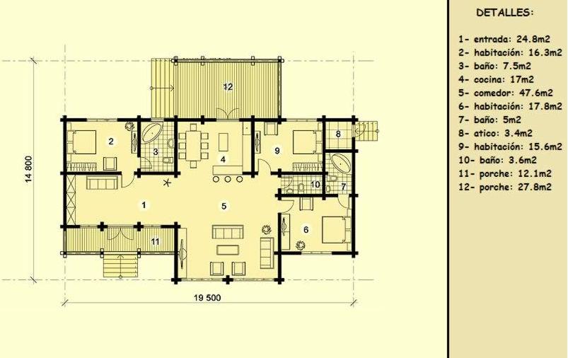 casas de madera de 158 m2. con 40 m2 de terraza