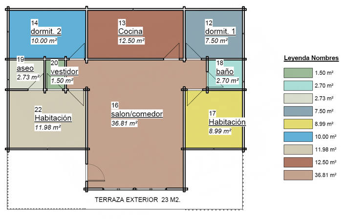 Casas de madera de 126 m2 (100m2 + 26 m2 de porche)
