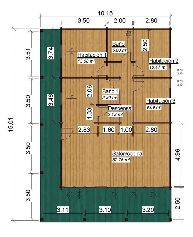 Plano casas de madera de 100 m2 + 38 m2 de Porche