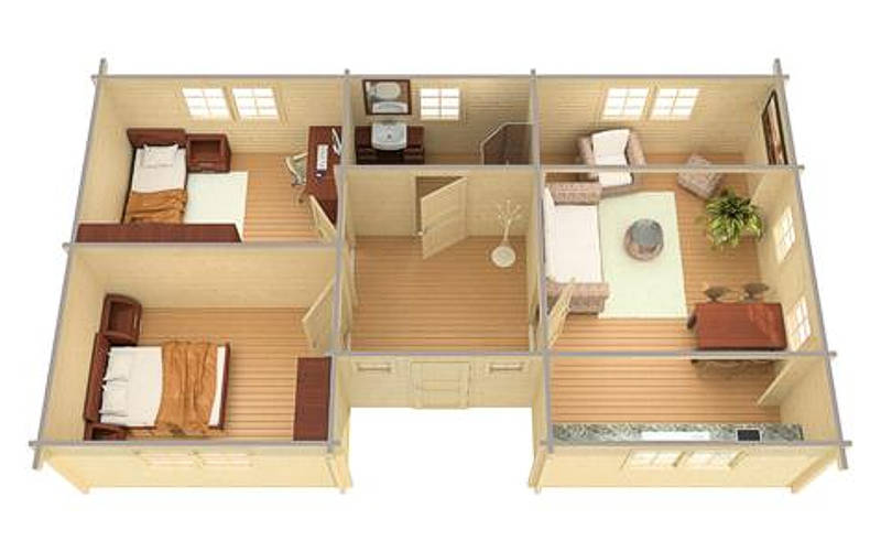 Casas de madera modelo kristy de 63 m2 daype for Casas de madera baratas