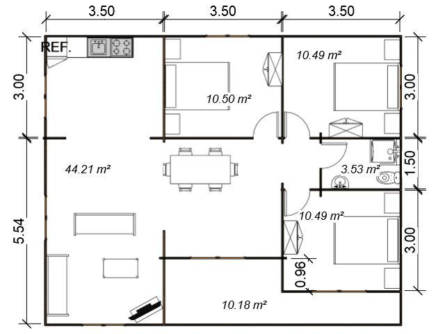 Casas de madera modelo m laga daype for Plano casa moderna 90m2