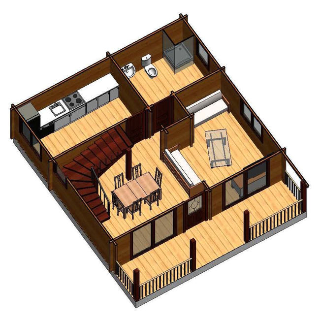 plano casa de madera marta ii