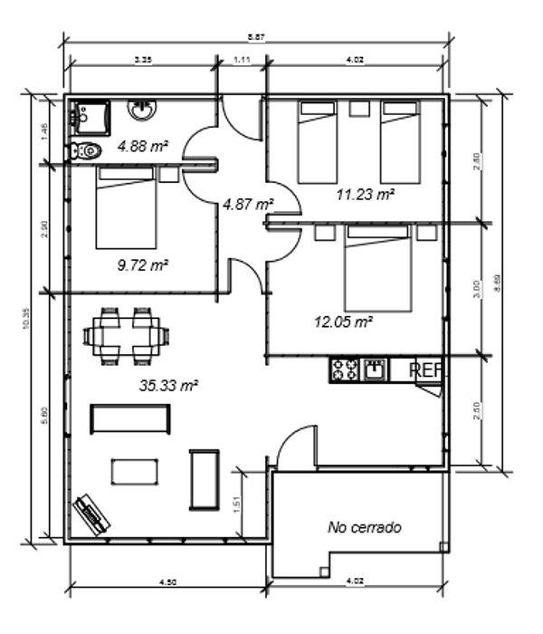 Casas de madera modelo mexico daype for Planos de casas 80 mts2