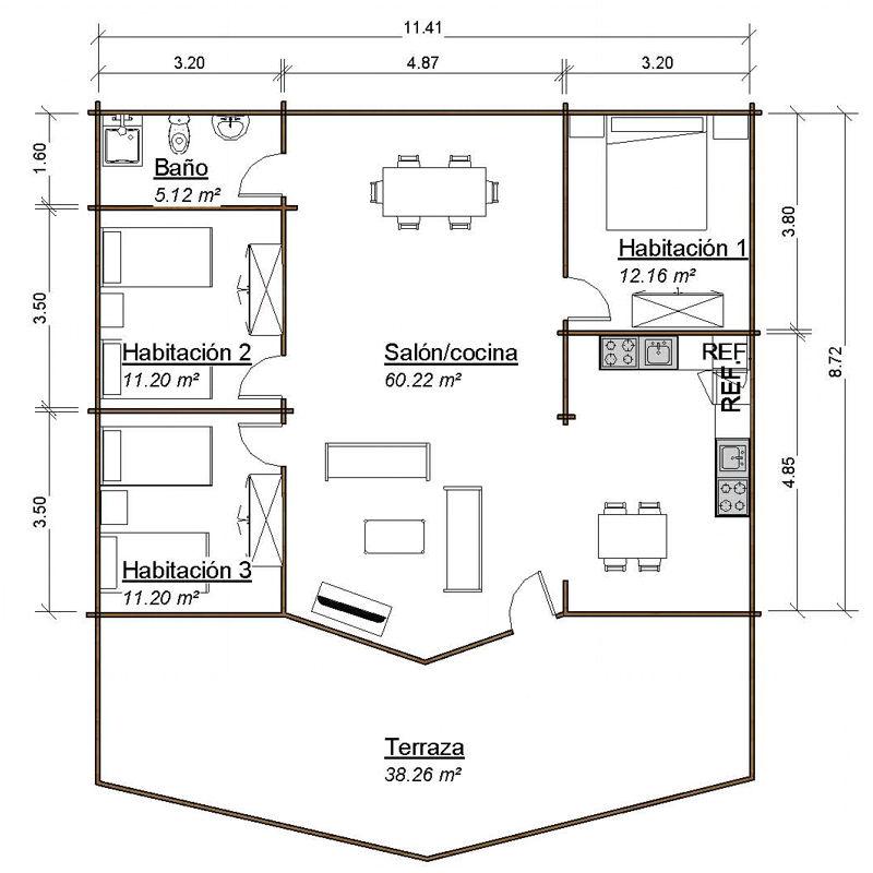 Casas de madera modelo moderna i daype - Planos casa madera ...