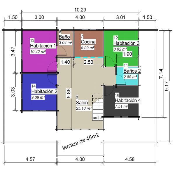 casas de madera de 95 m2. con 46 m2 de terraza