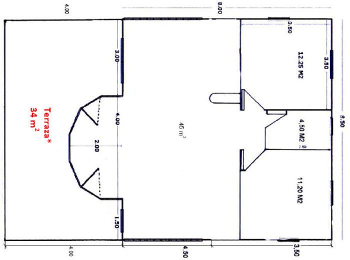 Casas de madera de 68 m2 + 34 m2 de terraza